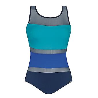 Sunflair 22304-26 Women's Modern Cubes Blue Soft Cup High Back Mastectomy Swimsuit
