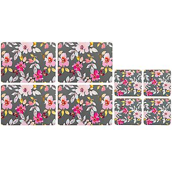 Navigate Gardenia Set of Placemats and Coasters, Grey Floral
