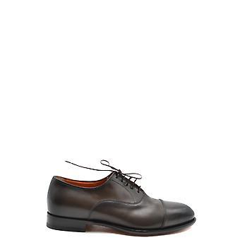 Santoni Ezbc023017 Men's Brown Leather Lace-up Shoes