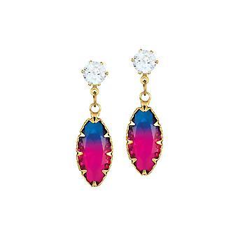 Ikuinen kokoelma arkuus sininen ja vaaleanpunainen kaksi sävy kristalli markiisi leikata pudota lävistetty korvakorut