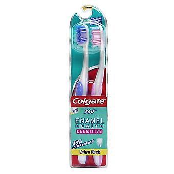 Colgate 360 enamel health sensitive toothbrush, extra soft, 2 ea