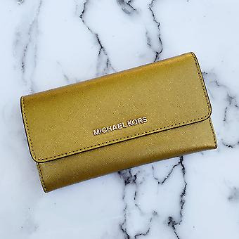 Michael kors jet set travel large trifold wallet old gold