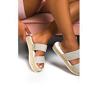IKRUSH Womens Ainslie Flatform Diamante Sandals