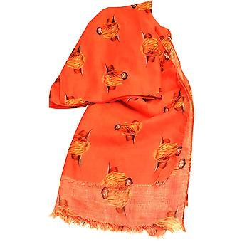 Coral Highland Cow Scarf by Butterfly Fashion London