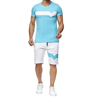 Allthemen Men's Summer Colorblocked Short Sleeve Casual Two-Piece Suit