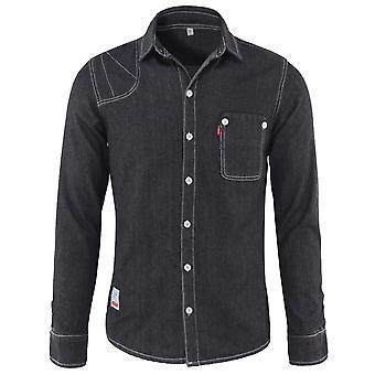 Allthemen Mens قمصان الدنيم عارضة طويلة الأكمام الجينز قميص سليم صالح زر أسفل قمصان العمل