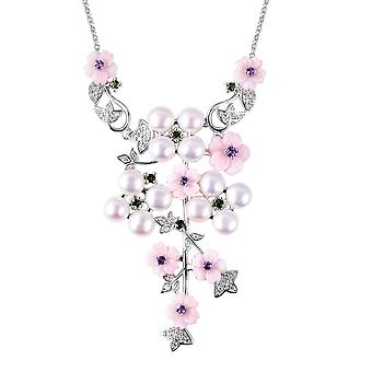 Mother of Pink Pearl Flower Necklace Silver Fresh Water Pearl, Amethyst