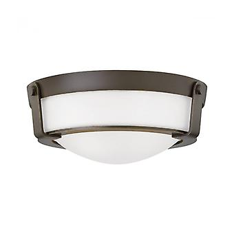 Hathaway Ceiling Lamp, Aged Bronze, Opal Glass, Small Model