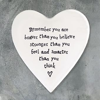East of India Porcelain Heart Coaster - Braver than you think Gift
