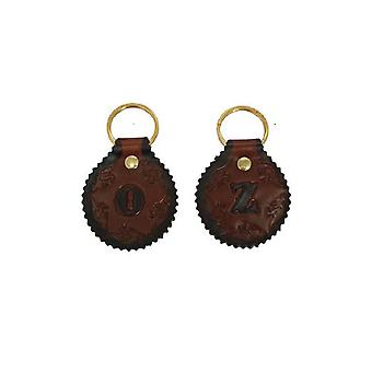 Jacaru 6402 brown keyring round, initials