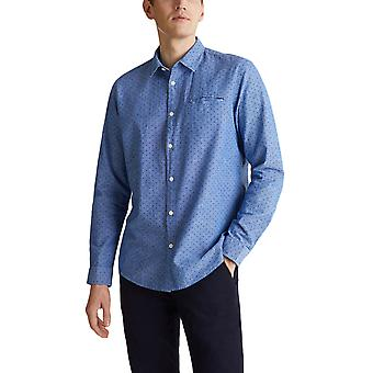 Esprit Men's Micro Pattern Shirt Regular Fit Blue