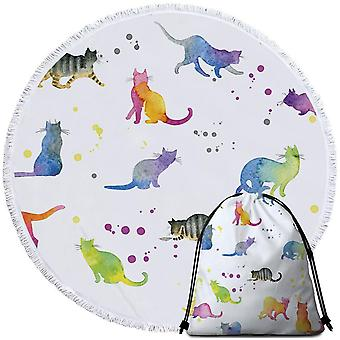 Colorful Water colored Cats Beach Towel