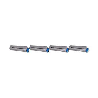 RudyTwos 4X erstatning for Oki 45862840 toner enhet svart kompatibel med MC853, MC853dn, MC853dnct, MC853dnv, MC870, MC873, MC873dn, MC873dnc, MC873dnct, MC873dnv, MC873dnx