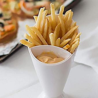 2 Grid Plastic Bowl - French Chips And Sauce Storage Cup
