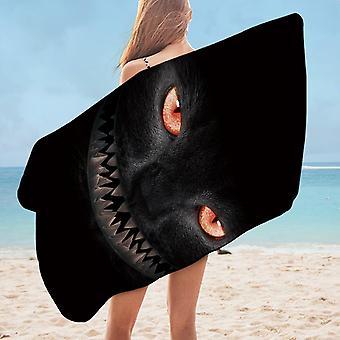 Scary Black Cat Microfiber Beach Towel