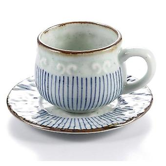 Ceramic Soup Cup Coarse Pottery Hand Painted Lattice Pattern Teacup