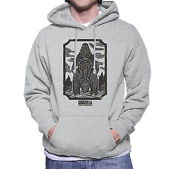 Godzilla Woodcut Design Men's Hooded Sweatshirt