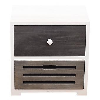 Rebecca Furniture Comodino Mobile 2 Grey White Wood Drawers Shabby 36x35x24