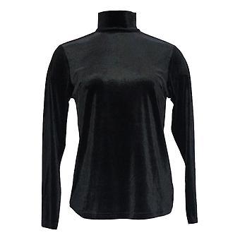 Joan Rivers Women's Top Wardrobe Builders Mock Turtleneck Noir A299355