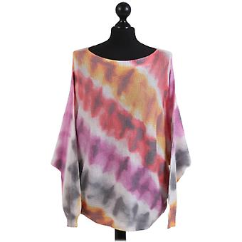 Womens Digital Print Batwing Knitted Top | Multi | One Size