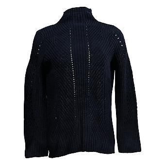 Lisa Rinna Colección Mujer's XXS Cable Knit Suéter de Manga Larga Azul A372097