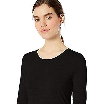 Brand - Daily Ritual Women's Lightweight Lived-In Cotton 3/4-Sleeve T-Shirt, Black,Large