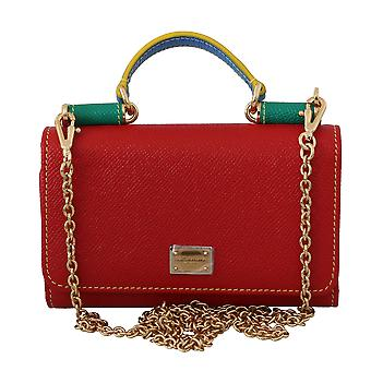 Red green leather hand borse sicily von purse