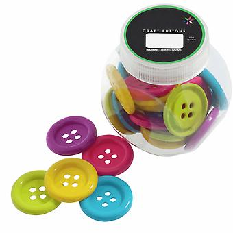 75g Mixed Size and Shade Buttons for Crafts - Large Brights