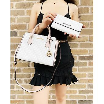 Michael kors hope medium messenger bag bright white mk pink + trifold wallet