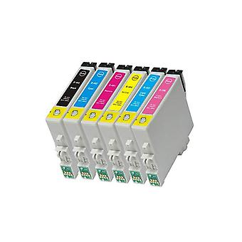 RudyTwos Replacement for Epson Seahorse Set Ink Cartridge Black Cyan Magenta Yellow Light Cyan & Light Magenta Compatible with Stylus Photo R200, R220, R300, R300M, R320, R325, R330, R340, R350, RX300