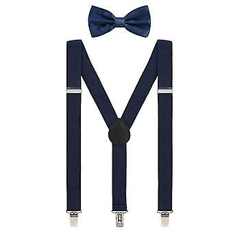 Set med fluga och hängsle med clip-on-fäste - Marinblå
