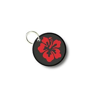 Porte cles clé clefs rond imprime double face hibiscus rouge fleur