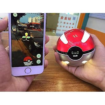 Quick Phone Charge Pokemon Go Red Ball Power Bank 10000ma Charger With Led Light (red Silver White)