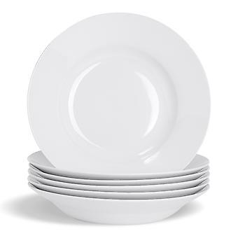 """Argon astiat 6-osainen valkoinen keittolevysetti - Klassiset posliinin tarjoilukulhoruoat - 230mm (9"""")"""