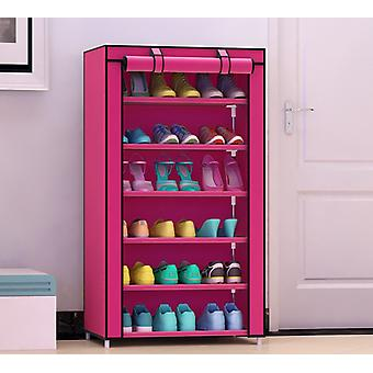 Home 6 Layer Shoe Rack Storage Shelf Organizer Cabinet with Cover