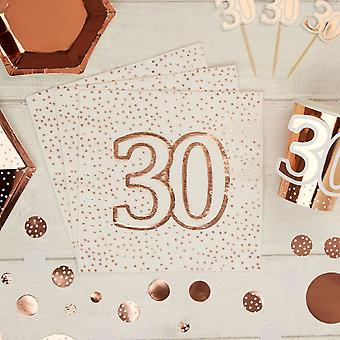 Rose Gold Spotty 30 th Birthday Paper Party Servetele x 16 - 3ply