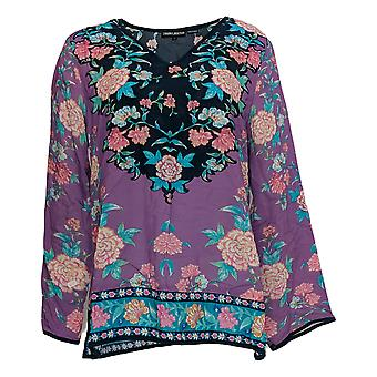 Tolani Women's Top Collection V-Neck Floral Printed Woven Purple A346999