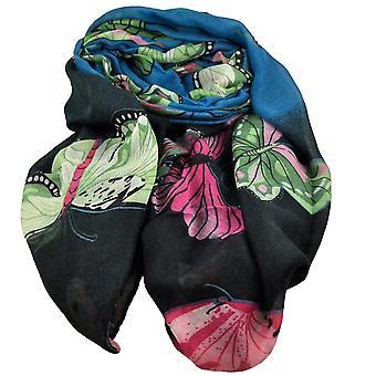 タイプラネットバタフライアニマルプリントガソリンブルー&ブラック軽量女性'sショールスカーフ