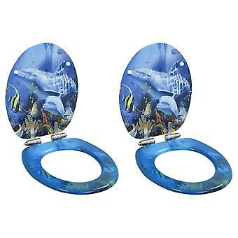 Wc-brillen 2 pc's. met soft-close deksel MDF dolfijn ontwerp