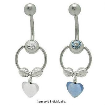 Cz jeweled door knocker belly ring with dangle heart