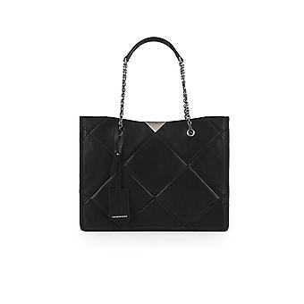 EMPORIO ARMANI BLACK QUILTED SHOPPING BAG