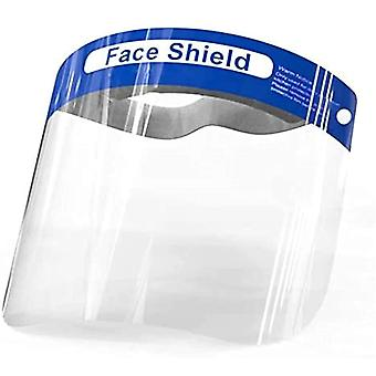 (Pack of 10) Blue Full Face Protective Shield Visor Plastic Adjustable Transparent Face Visor Resistant to Prevent Saliva