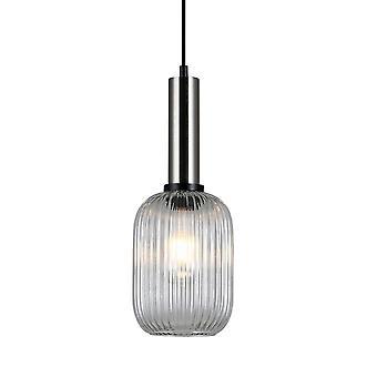 Italux Antiola - Moderno pendente appeso satinato nichel 1 luce con tonalità chiara, E27