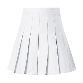 A-line High Waist Pleated Mini Skirt Satin Women's Fashion Slim Casual Tennis