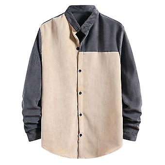 Yunyun Men's Stitching Long Sleeve Button Outwear Fashion Male Corduroy Top Shirt