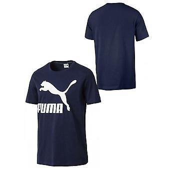 Puma Classics Miesten Logo Graafinen Tee Ajanviete Top T-paita Navy 576321 06