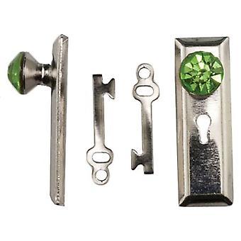 Dolls House Satin Nickel Door Handle With Green Crystal Knob & Keys