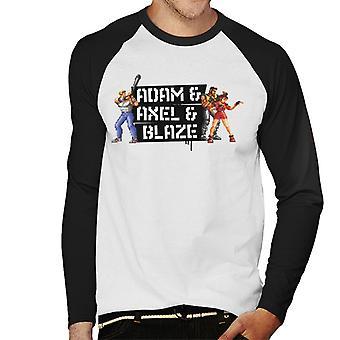 Sega Streets Of Rage Adam Axel og Blaze Pixelated Menn's Baseball Langermet T-skjorte