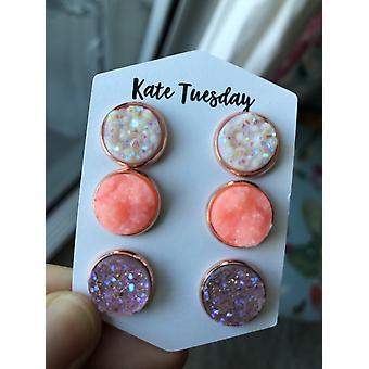 Let's Go Neon Triple Druzy Earrings Set