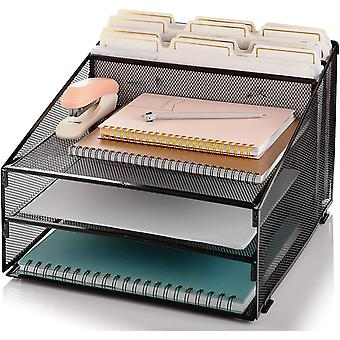 GRANDIX Mesh Desk Organizer Letter Double Tray and 5 Upright Sections, letter trays